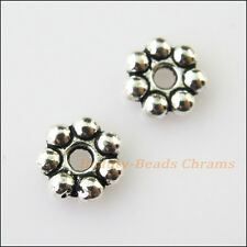 30 Tiny Flower Charms Tibetan Silver Tone Spacer Beads 8mm