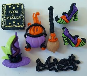 WITCHES SPELL Halloween Witchcraft Wicca Shoes Book Dress It Up Craft Buttons