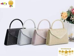 New Stylish Top Handle Evening Bag With Diamante Details Wedding Bag Party Bag