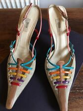 Prada Sling Back Sandals Suede With Multi Colour Strapping Size 36 Uk 3
