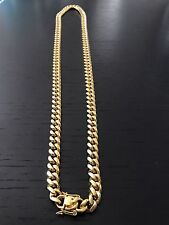 """Men Cuban Miami Link Chain Stainless Steel 18k Gold Plated 10mm 32"""""""