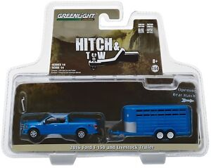 1:64 GreenLight *HITCH & TOW 14* Blue 2016 Ford F-150 w/ANIMAL LIVESTOCK TRAILER
