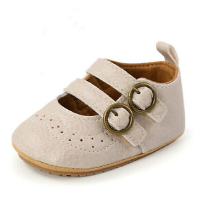 Newborn Baby Girl Crib Shoes Toddler PreWalker Trainer Infant Rubber Party Shoes