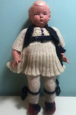 """Celluloid Doll 7.5 """" Tall Turtle Mark Crocheted Outfit"""