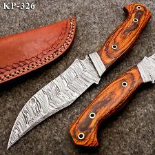 KP-326 Custom Hand forged Damascus Steel Hunting Knife with Pakka Wooden Handle