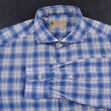 BORRELLI Colorful Plaid Check Cotton LUXURY VINTAGE Rippled Dress Shirt - 15