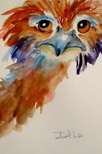 Ostrich bird animal watercolor collectible 9x6 painting Art by Delilah