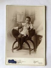 Cabinet Card Photo Little Boy In Curule Seat Chair Puffy Shirt Knickers Antique