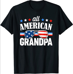Mens All American Grandpa USA Family Matching Outfit T-Shirt Dad Gift