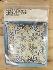 Vtg 1976 Mazaltov's Mediterranean Blue Yellow Crewel Needlepoint Pillow Kit