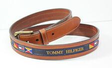 "Vintage 1990's Leather Tommy Hilfiger 46"" Mens Belt Flags Multi Colored"