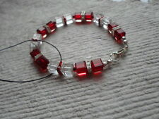 Handcrafted  Bracelet ~ Crystal Glass Cube Beads ~ Red And White