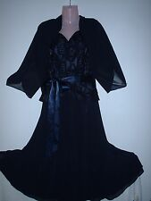 STUNNING JACQUES VERT OUTFIT FLOATY FIT & FLARE DRESS & BOLERO JACKET 22 / 24