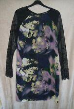 LITTLE MISTRESS BLACK FLORAL DRESS LACE SLEEVES SIZE 14