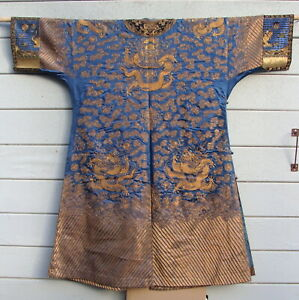 Antique Chinese Royal Court Blue & Gold Silk Kesi Dragon Embroidery Robe Qing