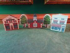 5 Pcs. Cat'S Meow Village Buildings & Trees, 2 Stores, 1 School, Black Cat