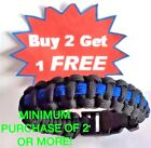 Thin Blue Line Survival Bracelet 550 Support Paracord Law LEO Wrist Band Police