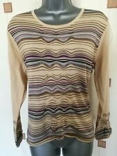 Pull grande taille L petite mailles fines haut beige rayures Neuf & COMPANY