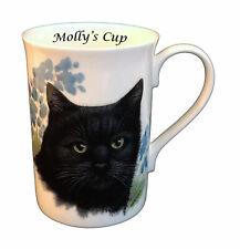 More details for boxed personalised cat mug, black cat fine bone china mug, coffee mug, cat gift