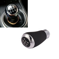 Manual Black Leather 5 Speed Car Gear Stick Shift Knob Lever Handle Shifter