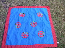 """Sunny Patch Red & Blue Polka Dot Happy Lady Bug Baby Toddler Blanket 48"""""""