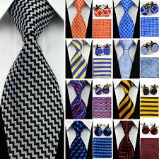 100% Silk Wedding Ties Compatible Cufflinks Sets Hanky Handkerchief For Business
