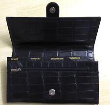 Pure Leather Black Croc Print Ladies Travel Organiser Passport TicketHolder