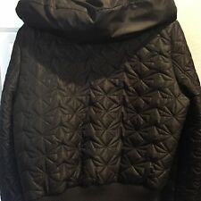 New York And Company Puffer Jacket Black Winter Coat Large Rain Proof Women's