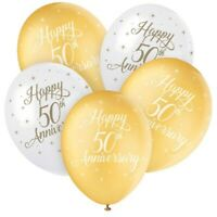 "5 X HAPPY 50th ANNIVERSARY HELIUM 12"" LATEX BALLOONS GOLDEN PARTY DECORATION"