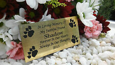 PERSONALISED ENGRAVED BENCH PET MEMORIAL PLAQUE DOG / CAT 10X5CM GOLD (A02)MY