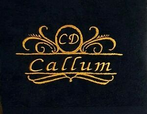 Name with Monogram Personalised Embroidered towels Gift Valentine Birthday