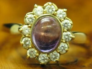 8kt 333 Yellow Gold Ring With 1,44ct Zirconia & 2,40ct Amethyst Trim/ 3,8g/ RG64