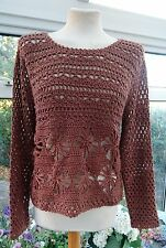 ATMOSPHERE BURNT CORAL COLOURED CROCHET KNIT JUMPER SIZE 8 BNWT