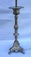 """French Large 16""""++ Church Candlestick Lamp Base Silver Plate Brass 19th C"""