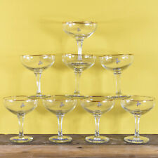 More details for a collection of 8 vintage retro babycham glasses - white fawn hexagonal stem