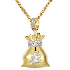 Custom Money Bag Pendant 14k Gold Finish 925 Silver Simulated Diamond Free Chain