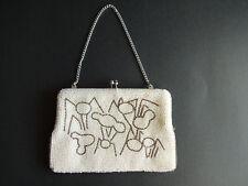 Vintage White Beaded Purse Bag Clutch Chain Strap Metal Frame Clasp Japan
