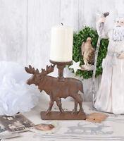 Tischleuchter Rentier Weihnachtsfigur Gusseisen Hirsch Kerzenleuchter Antik Deko