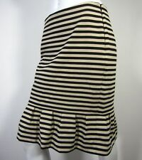 White House Black Market straight pencil skirt 6 black beige striped flounced
