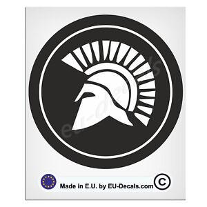 100mm-4'' Round Spartan Helmet Black & White Laminated Decal Sticker classic