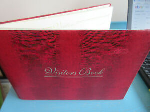 """Stationery Red animal skin look VISTORS BOOK Size 10"""" x 8"""" New`"""