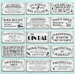 Metal plaques signs shabby chic rustic Bar mancave garden home wall decor gift