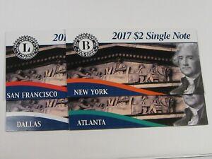 4 Different BEP 2017 $2 Single Notes: Dallas, New York, Atlanta, San Fran.  #24