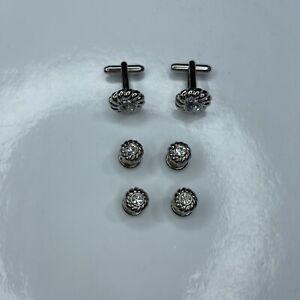 E Silver Crystals Mens Vtg Retro Cufflinks Studs Set