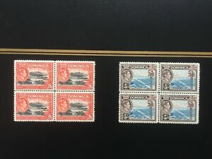DOMINICA 1938-47 SG107 & 108, 2/6 & 5/- SUPERB, FRESH MNH BLOCKS OF 4