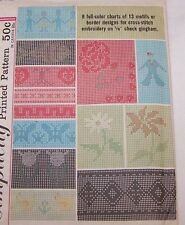1950'S SIMPLICITY #4726 CROSS STITCH PATTERNS FOR GINGHAM-FLOWERS-PEOPLE-HEART
