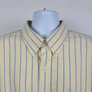 Jos A Bank Traveler Yellow Oxford Striped Mens Dress Button Shirt Size 2XL XXL