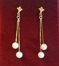 "14k Gold Earrings Akoya Pearl Dangle 6mm Saltwater Dangle Chain 1.75"" 2g #129"