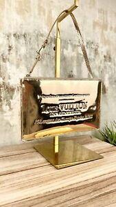 LOUIS VUITTON Authentic Gold Miroir Inventeu Pochette Plat Dore