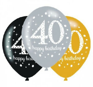 40TH BIRTHDAY Pack of 6 Sparkle Party Balloons Birthday Decorations